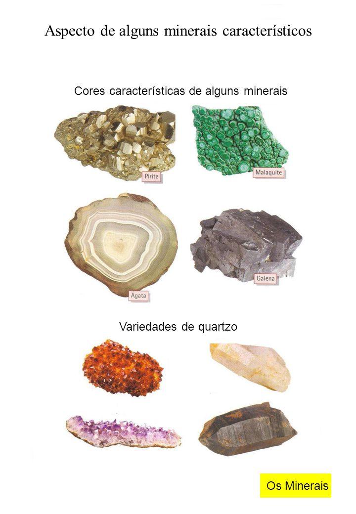 Aspecto de alguns minerais característicos