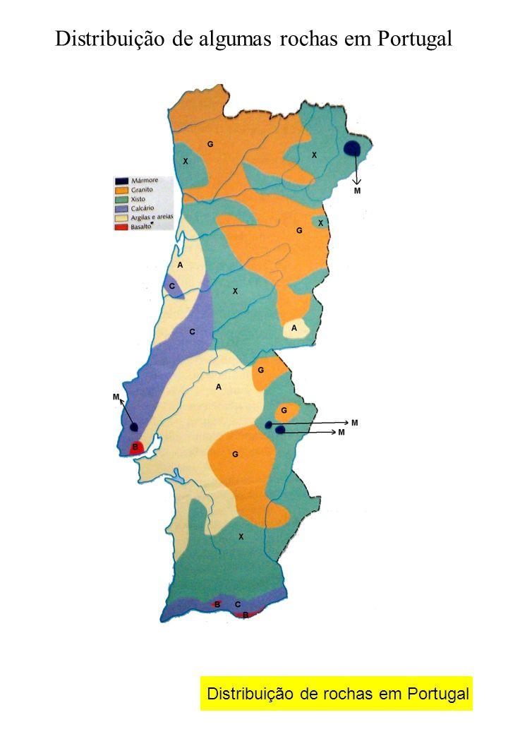 Distribuição de algumas rochas em Portugal