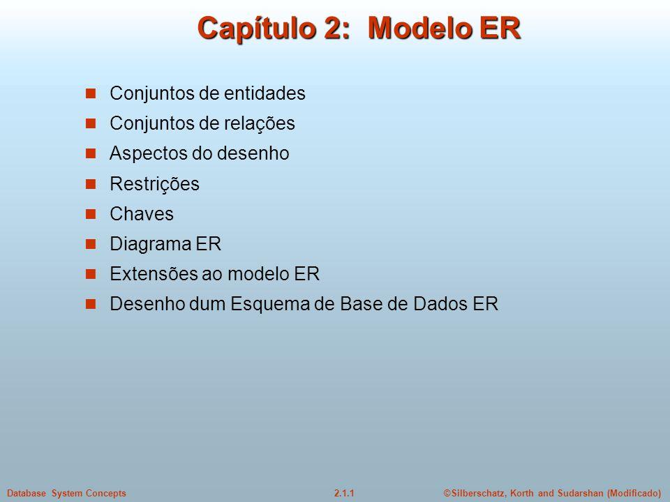 Capítulo 2: Modelo ER Conjuntos de entidades Conjuntos de relações
