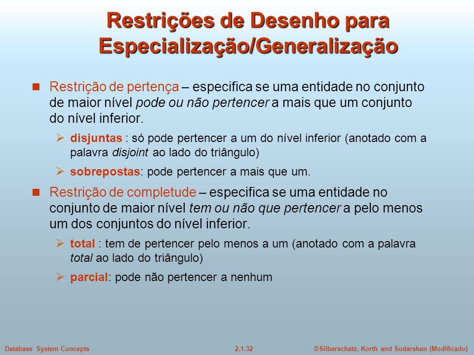 Restrições de Desenho para Especialização/Generalização