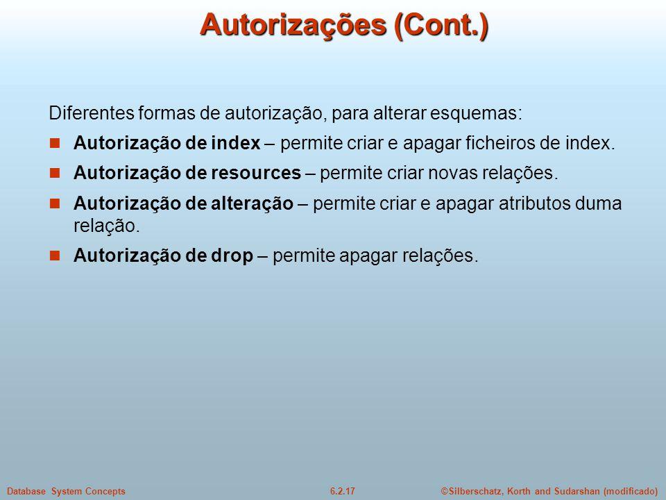 Autorizações (Cont.) Diferentes formas de autorização, para alterar esquemas: Autorização de index – permite criar e apagar ficheiros de index.