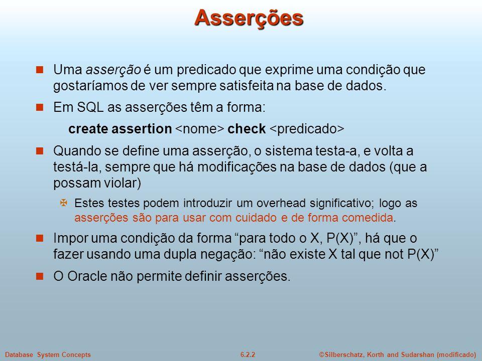 Asserções Uma asserção é um predicado que exprime uma condição que gostaríamos de ver sempre satisfeita na base de dados.