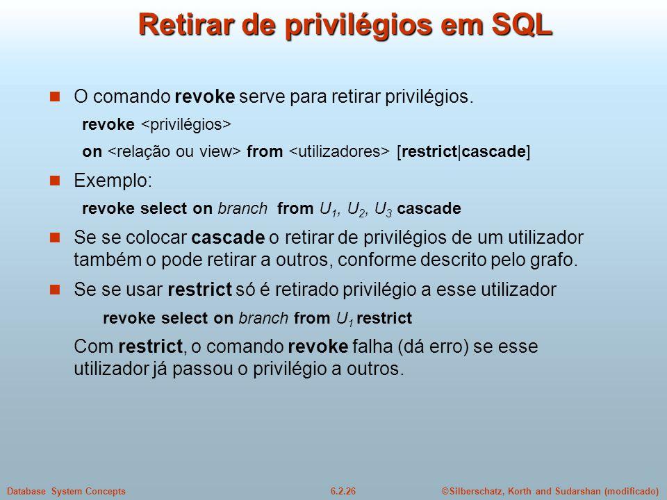Retirar de privilégios em SQL