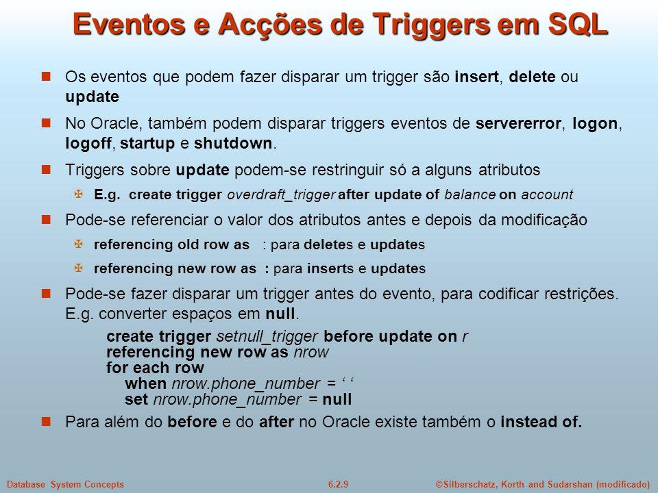 Eventos e Acções de Triggers em SQL