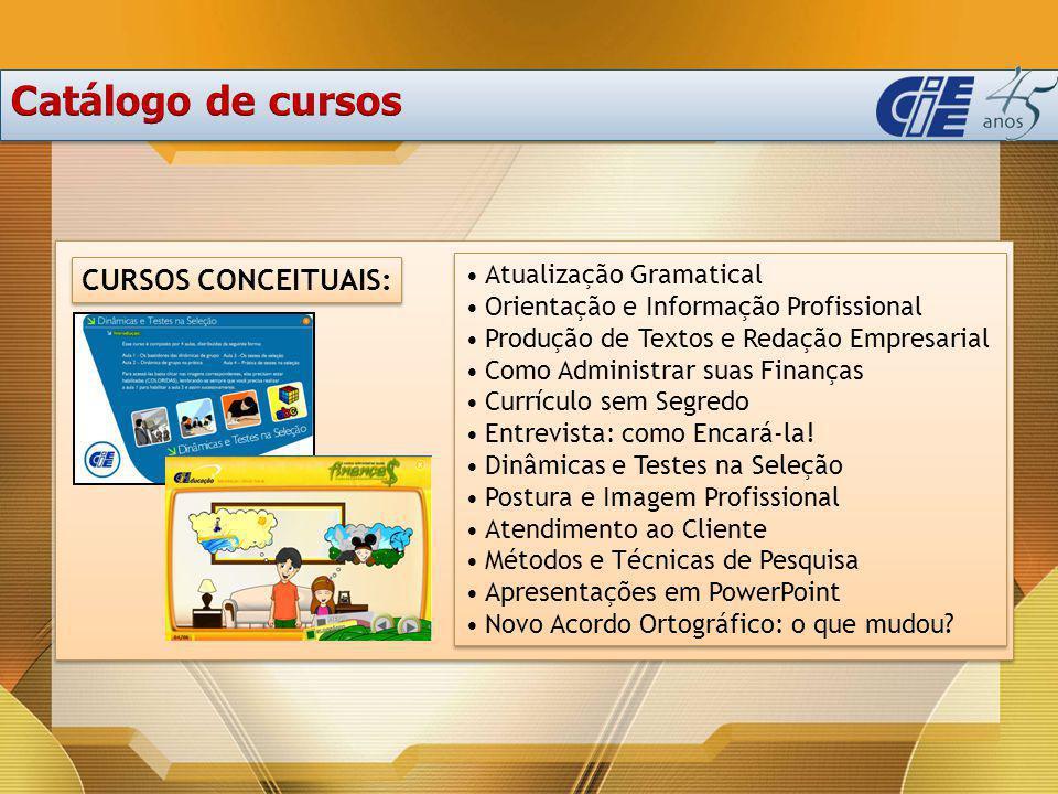 Catálogo de cursos CURSOS CONCEITUAIS: Atualização Gramatical
