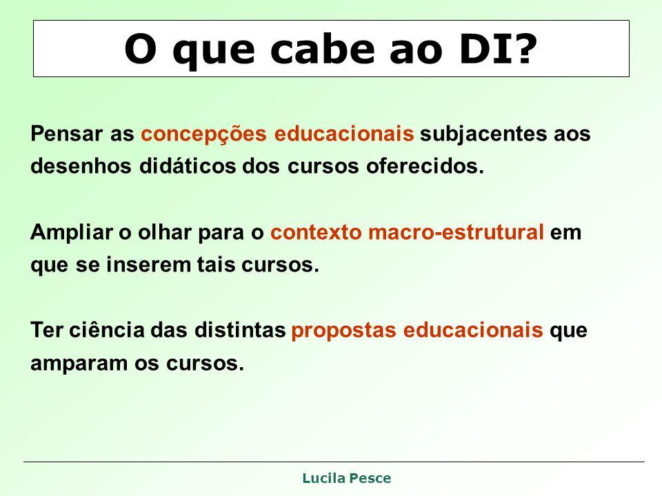 O que cabe ao DI Pensar as concepções educacionais subjacentes aos desenhos didáticos dos cursos oferecidos.