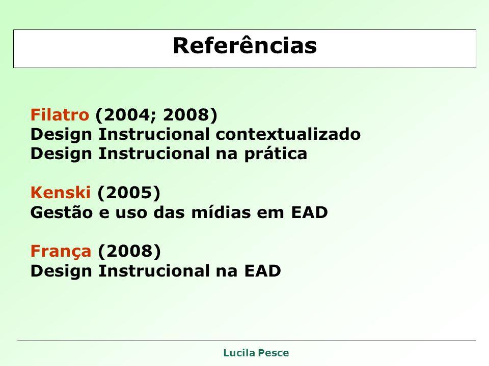 Referências Filatro (2004; 2008) Design Instrucional contextualizado
