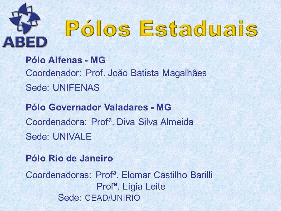 Pólo Alfenas - MG Coordenador: Prof. João Batista Magalhães. Sede: UNIFENAS. Pólo Governador Valadares - MG.