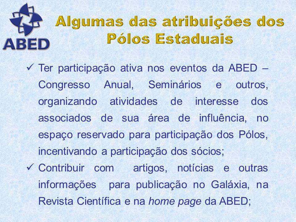 Ter participação ativa nos eventos da ABED – Congresso Anual, Seminários e outros, organizando atividades de interesse dos associados de sua área de influência, no espaço reservado para participação dos Pólos, incentivando a participação dos sócios;