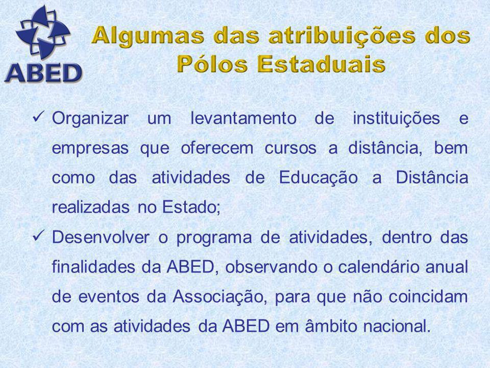Organizar um levantamento de instituições e empresas que oferecem cursos a distância, bem como das atividades de Educação a Distância realizadas no Estado;