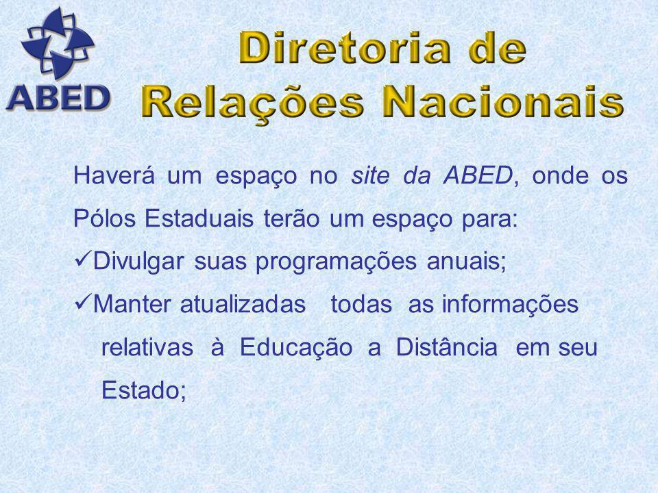 Haverá um espaço no site da ABED, onde os Pólos Estaduais terão um espaço para: