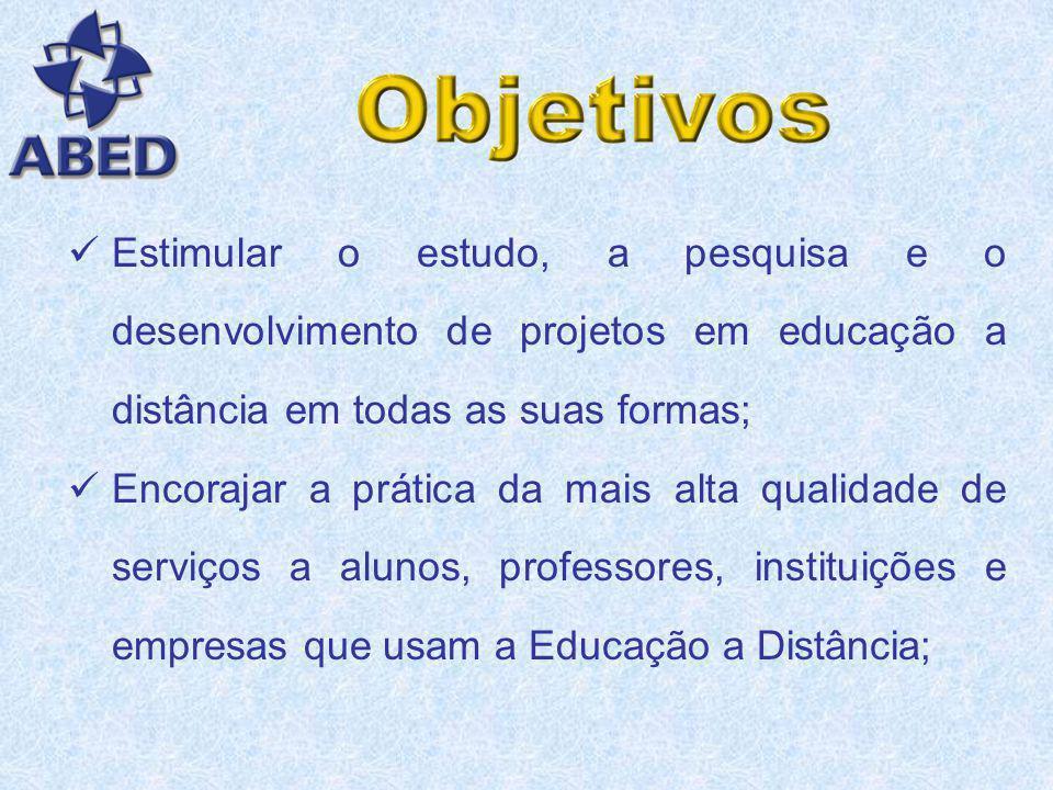 Estimular o estudo, a pesquisa e o desenvolvimento de projetos em educação a distância em todas as suas formas;