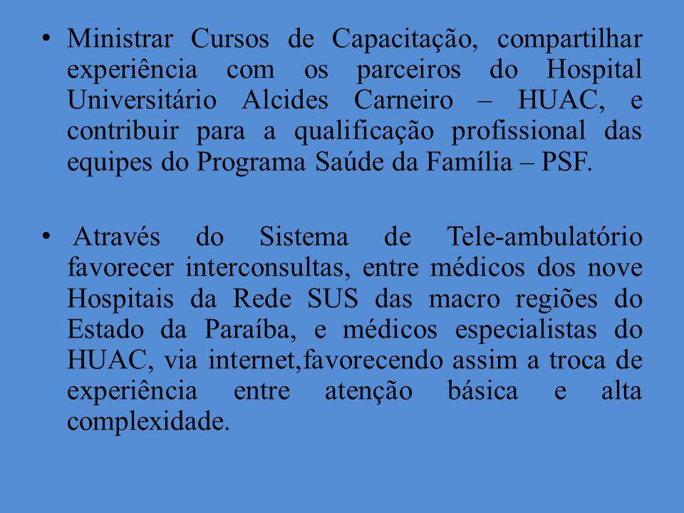 Ministrar Cursos de Capacitação, compartilhar experiência com os parceiros do Hospital Universitário Alcides Carneiro – HUAC, e contribuir para a qualificação profissional das equipes do Programa Saúde da Família – PSF.