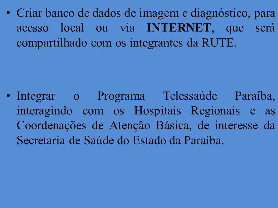 Criar banco de dados de imagem e diagnóstico, para acesso local ou via INTERNET, que será compartilhado com os integrantes da RUTE.