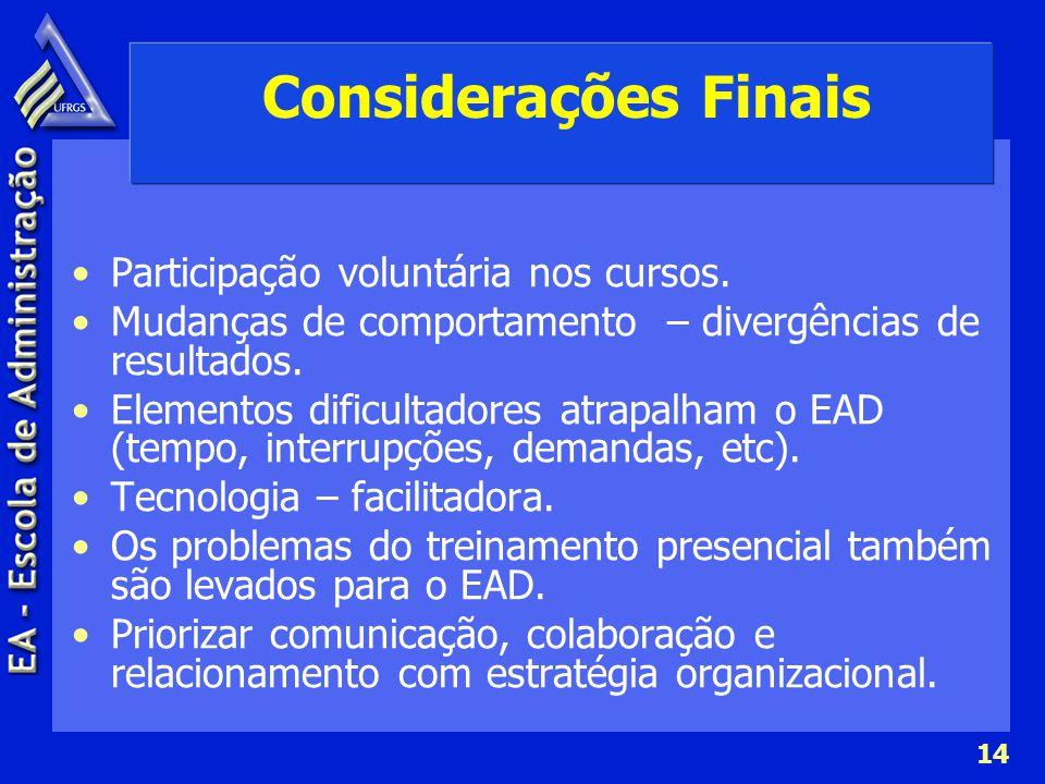 Considerações Finais Participação voluntária nos cursos.