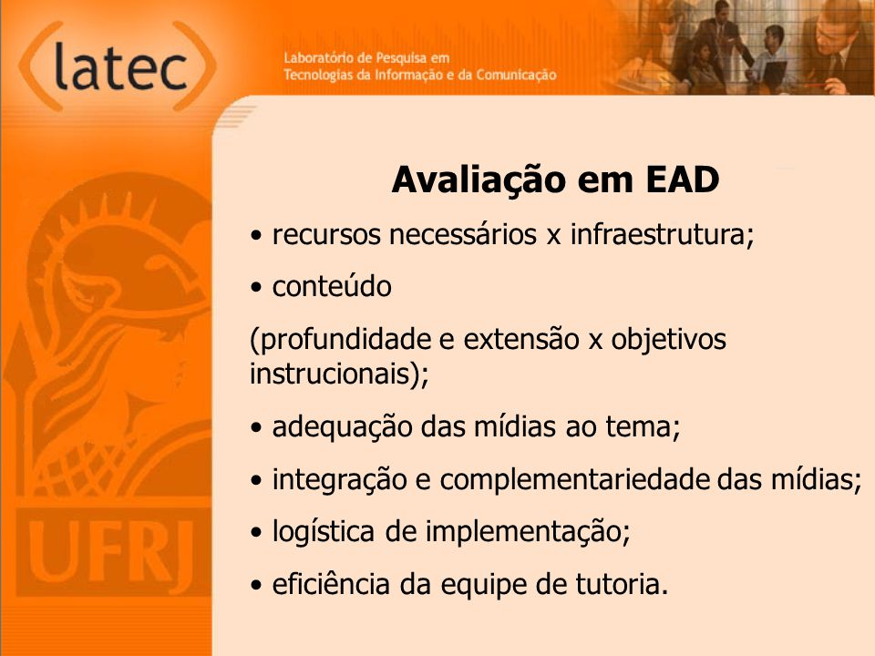 Avaliação em EAD recursos necessários x infraestrutura; conteúdo