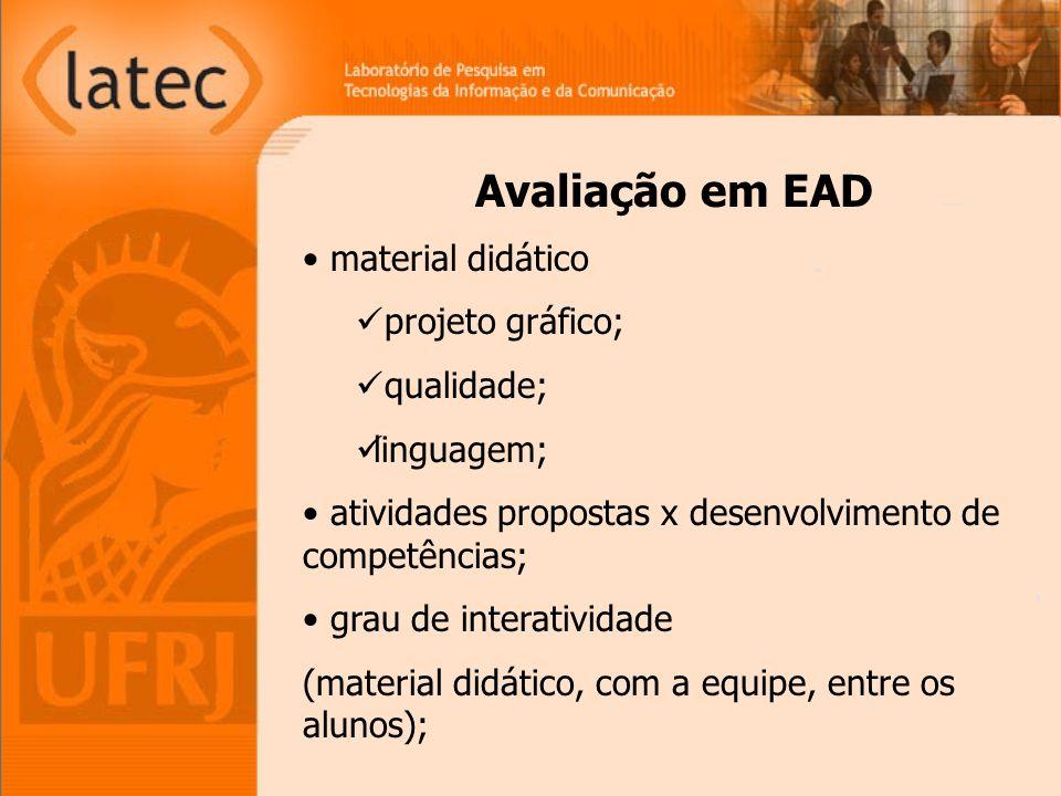 Avaliação em EAD material didático projeto gráfico; qualidade;