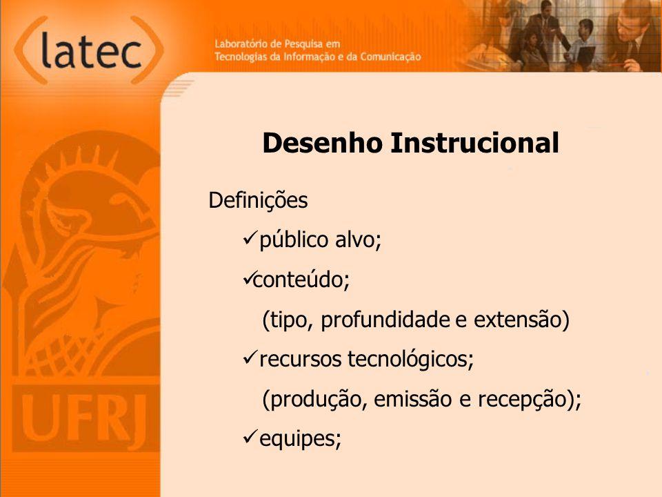 Desenho Instrucional Definições público alvo; conteúdo;