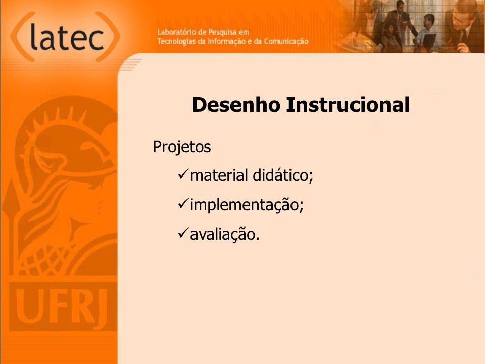 Desenho Instrucional Projetos material didático; implementação;