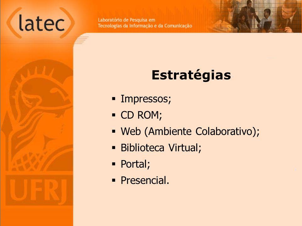 Estratégias Impressos; CD ROM; Web (Ambiente Colaborativo);