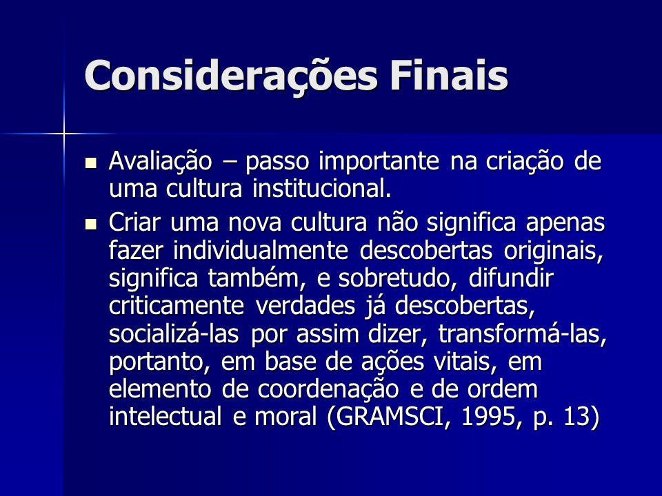 Considerações Finais Avaliação – passo importante na criação de uma cultura institucional.