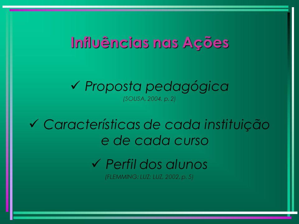 Características de cada instituição e de cada curso
