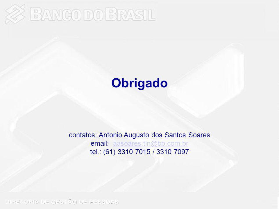 Obrigado contatos: Antonio Augusto dos Santos Soares