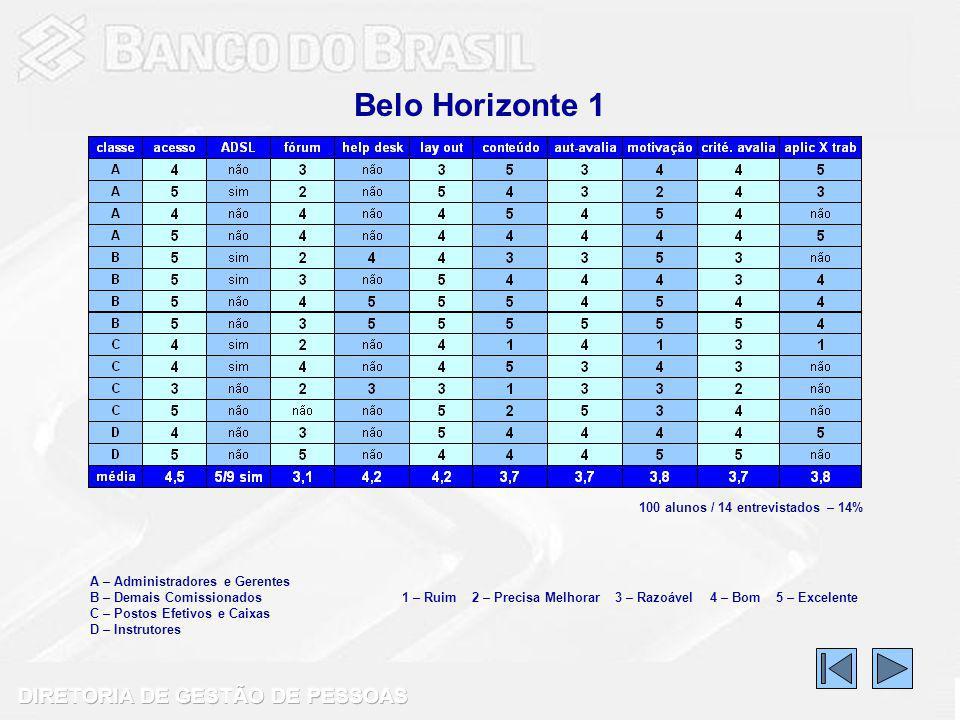 Belo Horizonte 1 100 alunos / 14 entrevistados – 14%