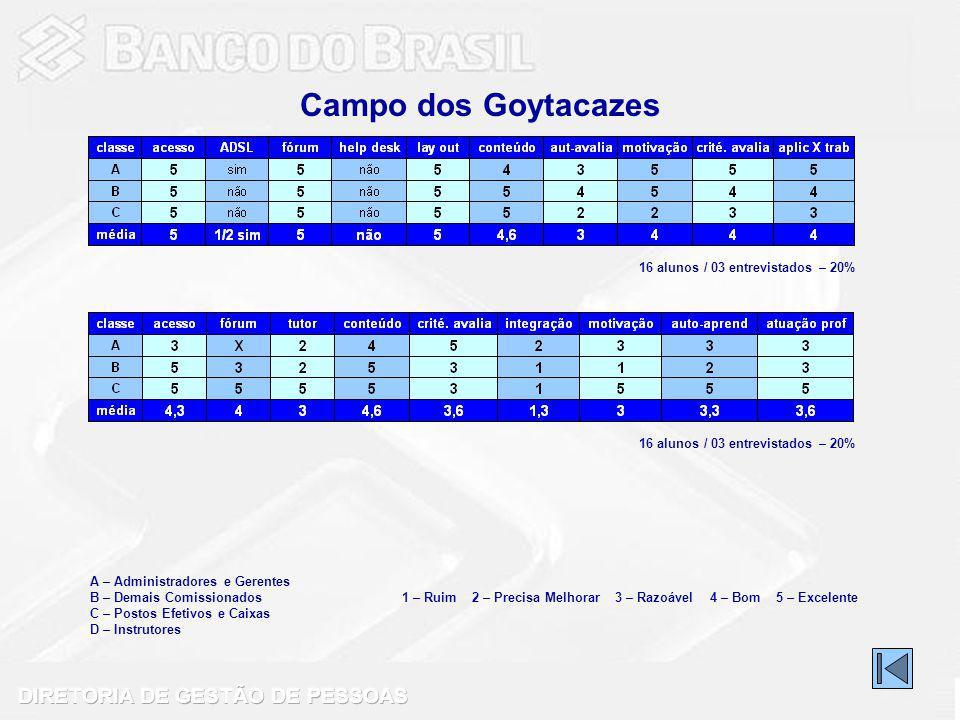 Campo dos Goytacazes 16 alunos / 03 entrevistados – 20%