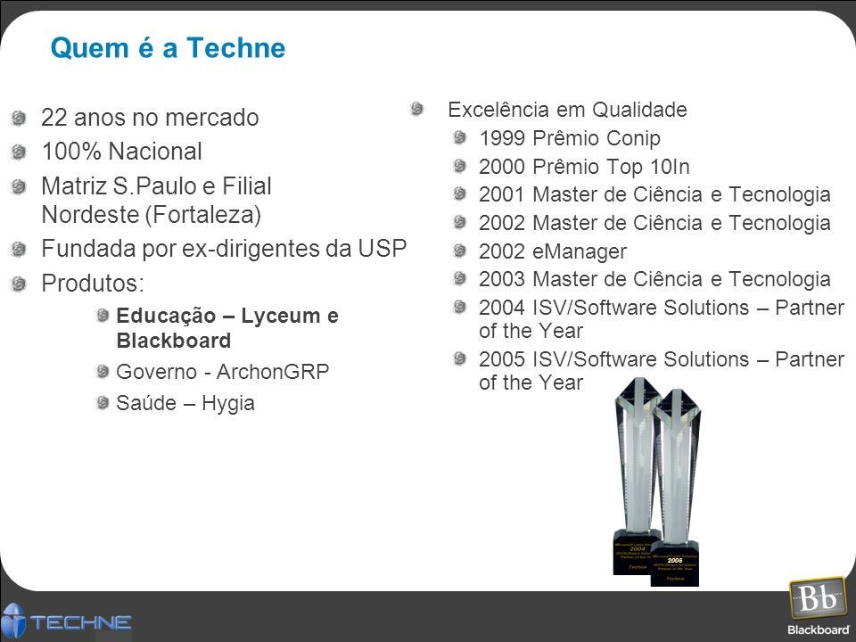 Quem é a Techne 22 anos no mercado 100% Nacional