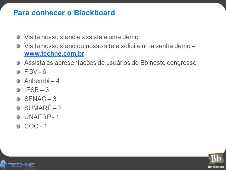 Para conhecer o Blackboard