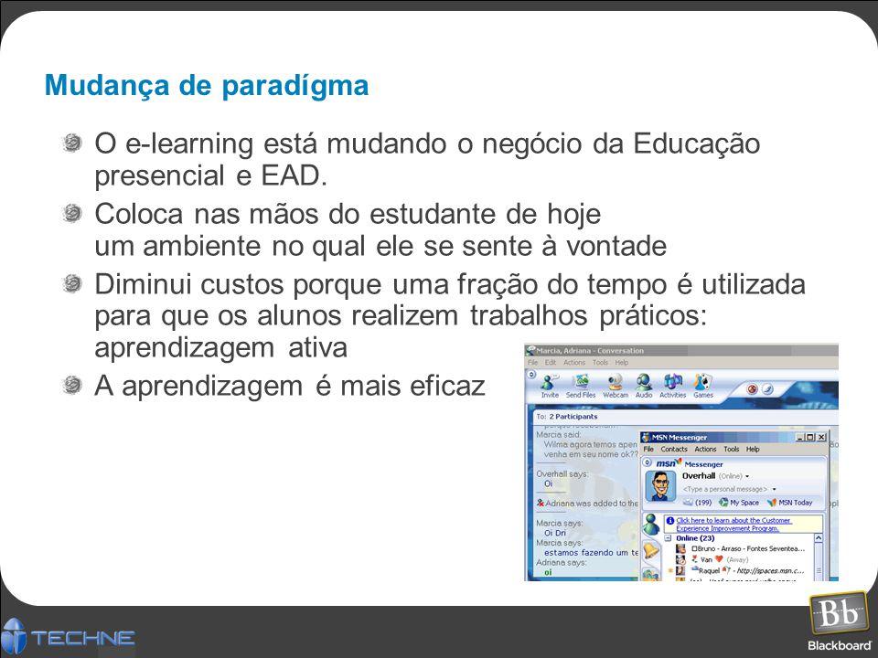 Mudança de paradígma O e-learning está mudando o negócio da Educação presencial e EAD.
