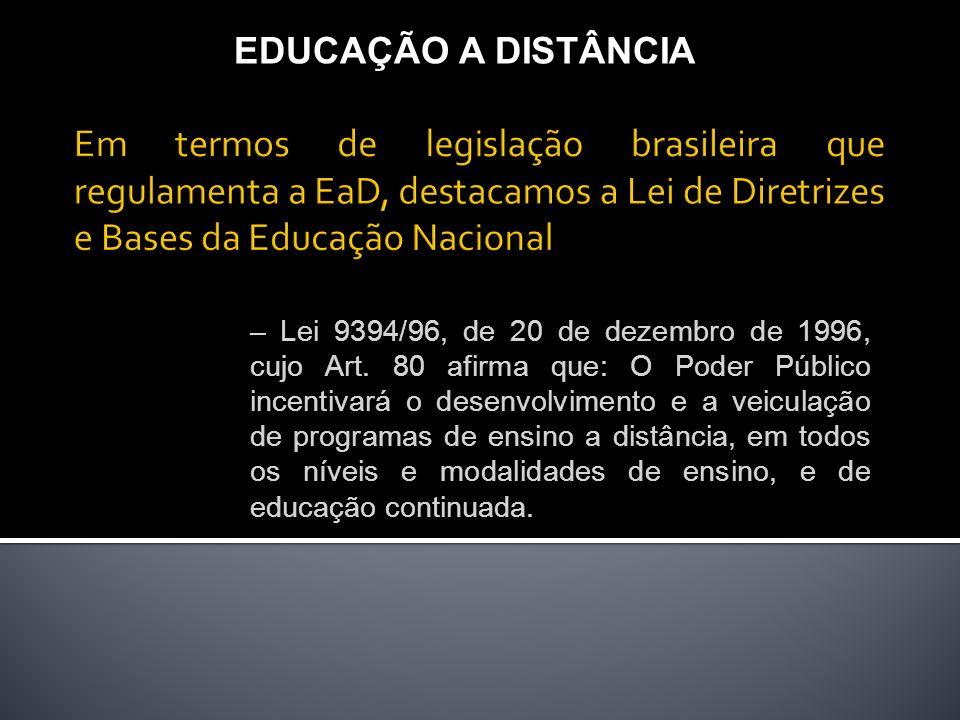 EDUCAÇÃO A DISTÂNCIA Em termos de legislação brasileira que regulamenta a EaD, destacamos a Lei de Diretrizes e Bases da Educação Nacional.
