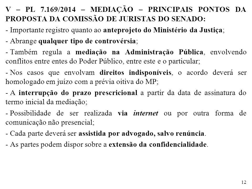 V – PL 7.169/2014 – MEDIAÇÃO – PRINCIPAIS PONTOS DA PROPOSTA DA COMISSÃO DE JURISTAS DO SENADO:
