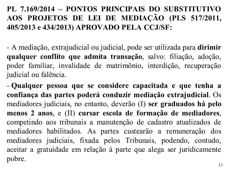 PL 7.169/2014 – PONTOS PRINCIPAIS DO SUBSTITUTIVO AOS PROJETOS DE LEI DE MEDIAÇÃO (PLS 517/2011, 405/2013 e 434/2013) APROVADO PELA CCJ/SF: