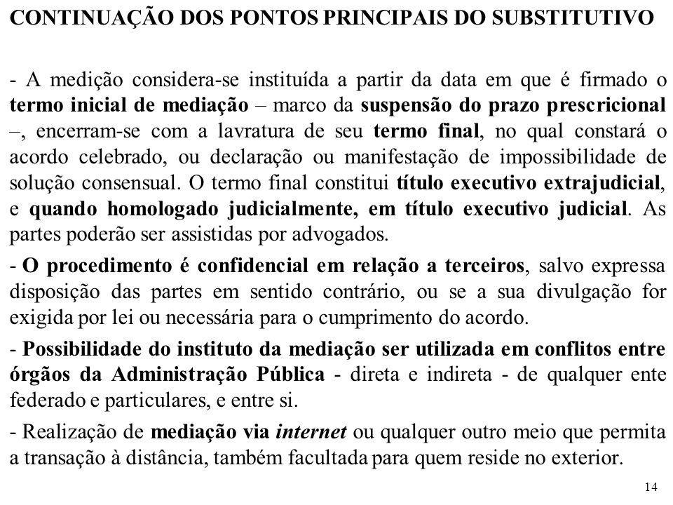 CONTINUAÇÃO DOS PONTOS PRINCIPAIS DO SUBSTITUTIVO