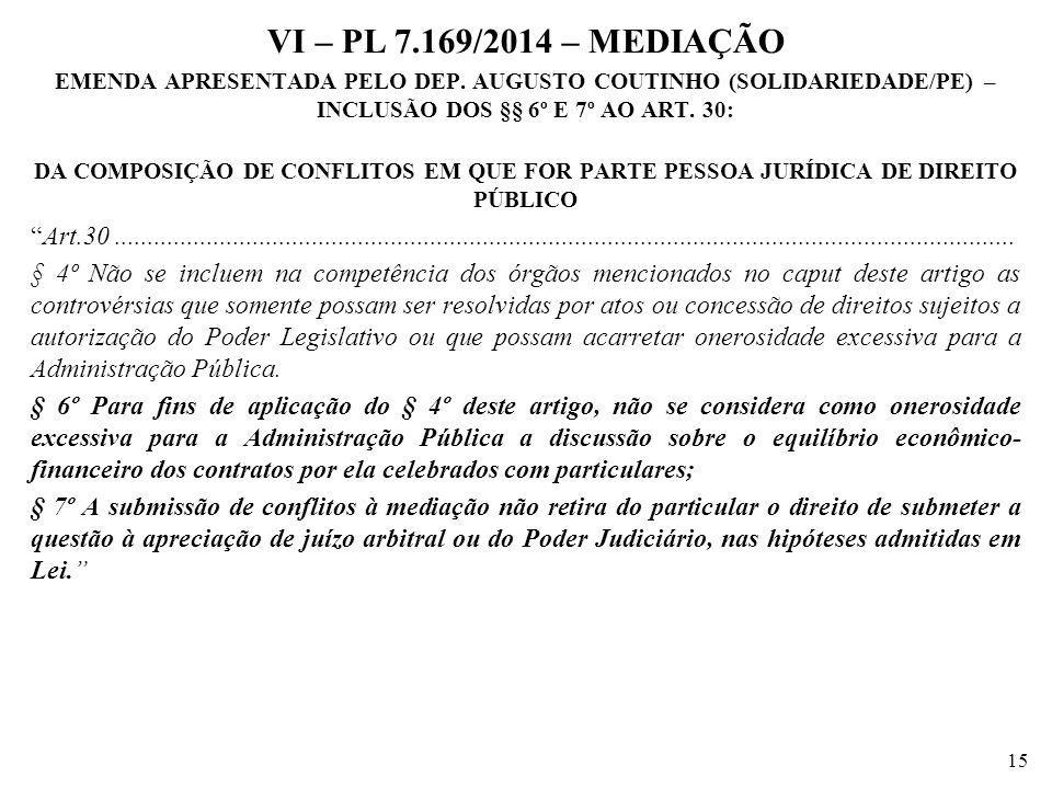 VI – PL 7.169/2014 – MEDIAÇÃO EMENDA APRESENTADA PELO DEP. AUGUSTO COUTINHO (SOLIDARIEDADE/PE) – INCLUSÃO DOS §§ 6º E 7º AO ART. 30: