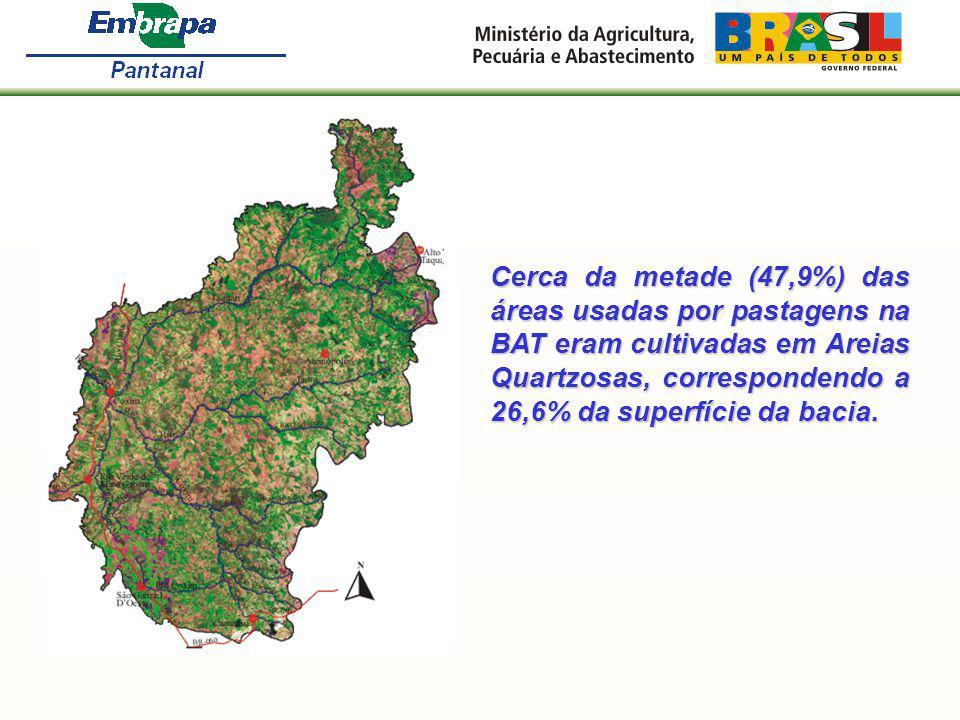 Cerca da metade (47,9%) das áreas usadas por pastagens na BAT eram cultivadas em Areias Quartzosas, correspondendo a 26,6% da superfície da bacia.