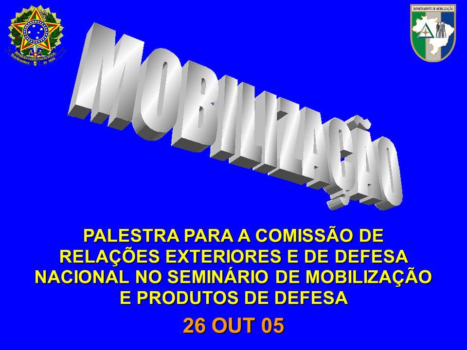 PALESTRA PARA A COMISSÃO DE RELAÇÕES EXTERIORES E DE DEFESA NACIONAL NO SEMINÁRIO DE MOBILIZAÇÃO E PRODUTOS DE DEFESA