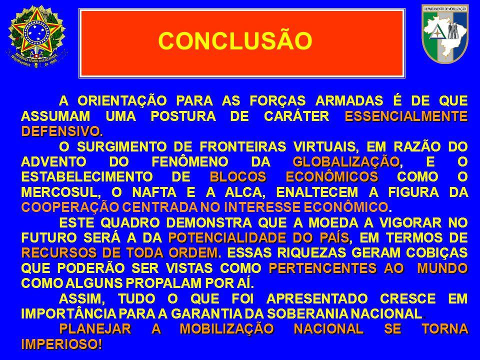 CONCLUSÃO A ORIENTAÇÃO PARA AS FORÇAS ARMADAS É DE QUE ASSUMAM UMA POSTURA DE CARÁTER ESSENCIALMENTE DEFENSIVO.