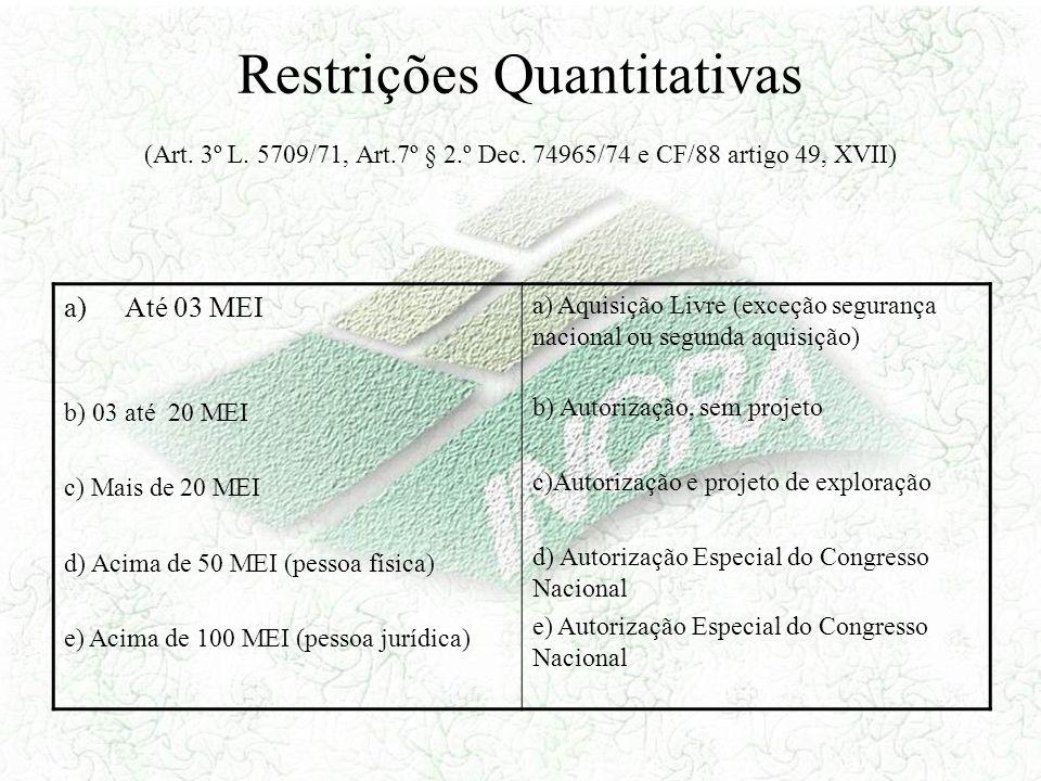 Restrições Quantitativas (Art. 3º L. 5709/71, Art. 7º § 2. º Dec