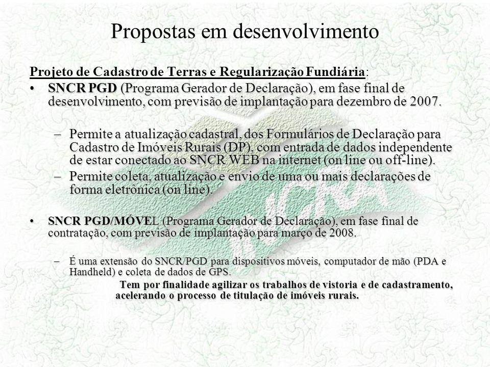 Propostas em desenvolvimento