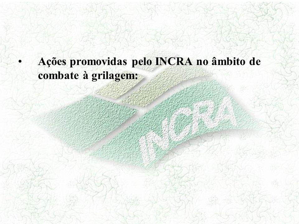 Ações promovidas pelo INCRA no âmbito de combate à grilagem: