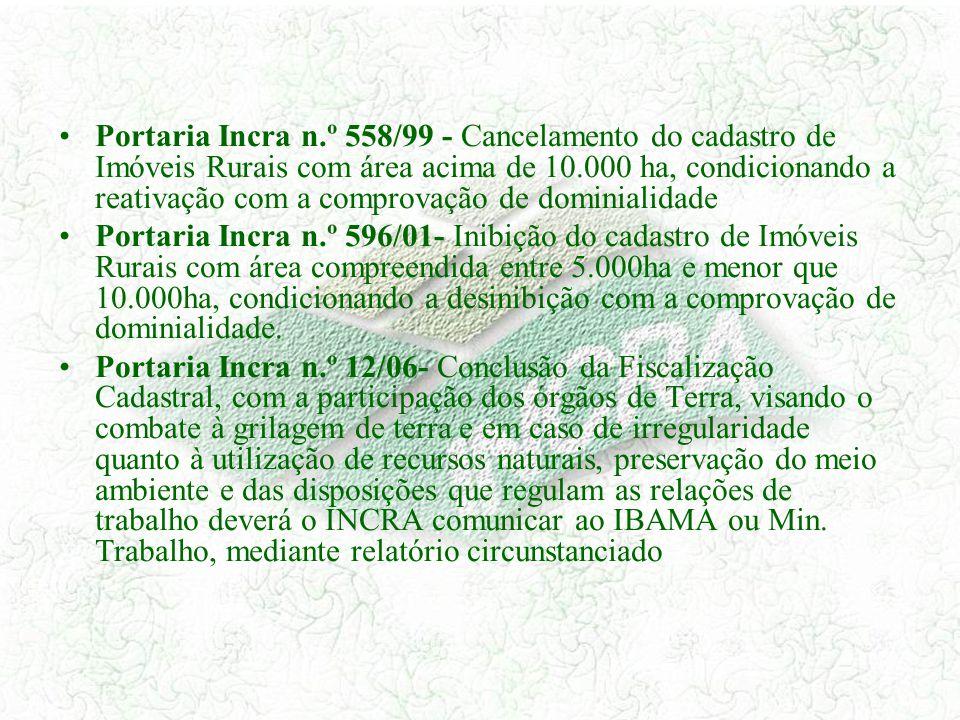 Portaria Incra n.º 558/99 - Cancelamento do cadastro de Imóveis Rurais com área acima de 10.000 ha, condicionando a reativação com a comprovação de dominialidade
