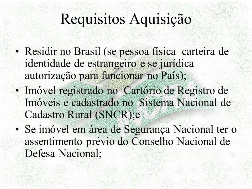 Requisitos Aquisição Residir no Brasil (se pessoa física carteira de identidade de estrangeiro e se jurídica autorização para funcionar no País);