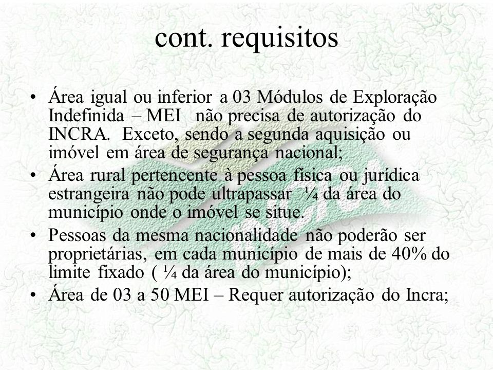 cont. requisitos