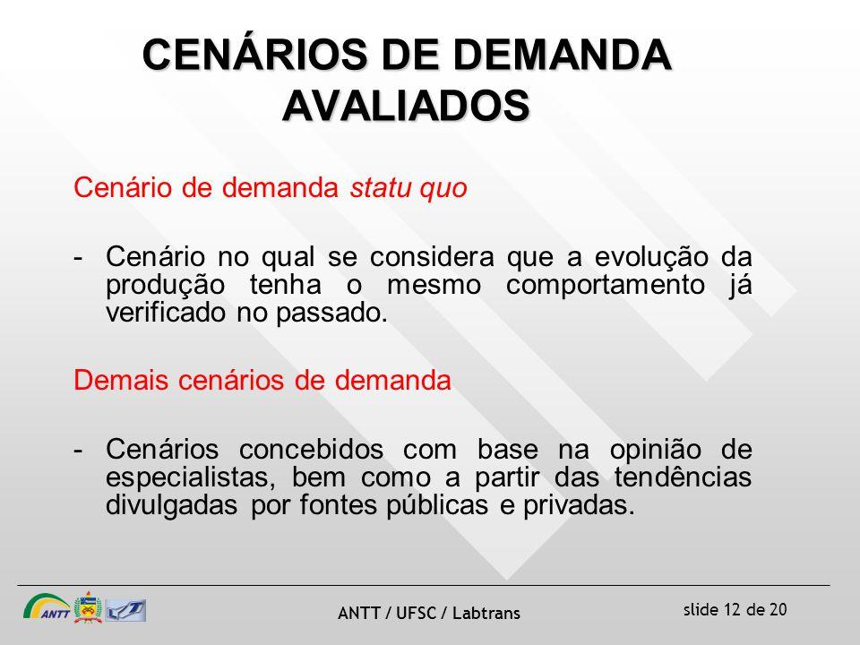 CENÁRIOS DE DEMANDA AVALIADOS