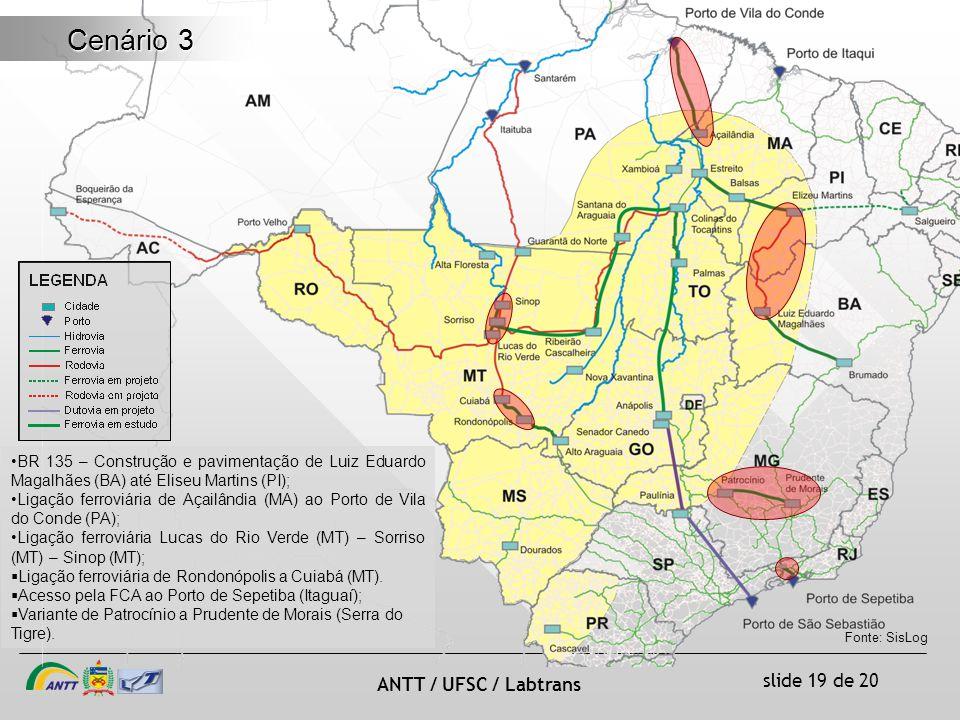 Cenário 3 BR 135 – Construção e pavimentação de Luiz Eduardo Magalhães (BA) até Eliseu Martins (PI);