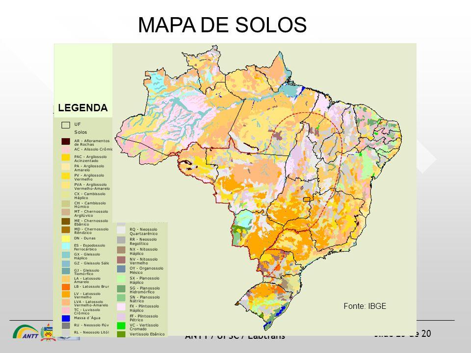 MAPA DE SOLOS LEGENDA Fonte: IBGE