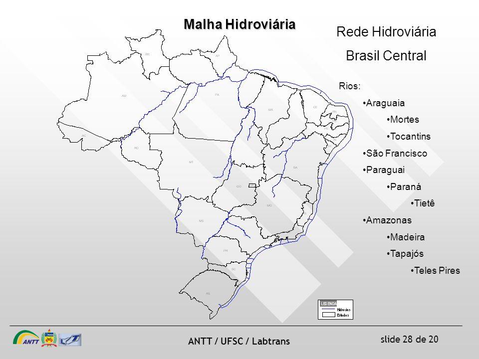 Malha Hidroviária Rede Hidroviária Brasil Central Rios: Araguaia